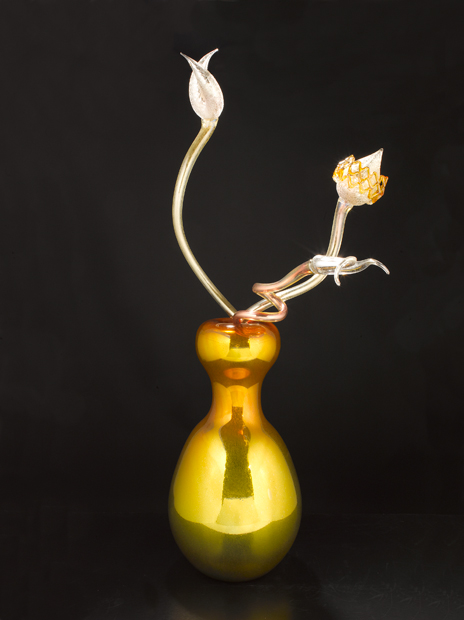 Silvered Amber Ikebana with Three Taupe Stems, 2010