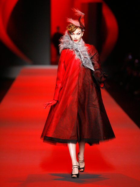 Haute Couture Christian Dior SS2011 1.  EMBROIDERED RED SILK AND BLACK DÉGRADÉ TULLE COAT.