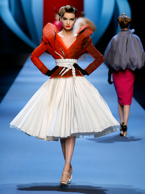 Haute Couture Christian Dior SS2011 12.  EMBROIDERED BLACK SILK AND ORANGE DÉGRADÉ TULLE JACKET AND OFF WHITE SILK SKIRT.