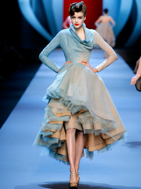 Haute Couture Christian Dior SS2011 19.  EMBROIDERED FLESH SILK AND LIGHT BLUE DÉGRADÉ TULLE AND LACE DRESS.
