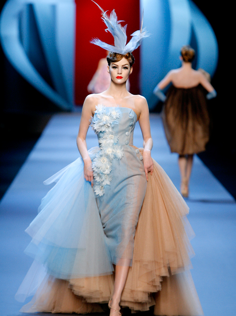 Haute Couture Christian Dior SS2011 22.  EMBROIDERED FLESH SILK AND LIGHT BLUE DÉGRADÉ TULLE DRESS.